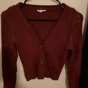 Cropped rust color cardigan